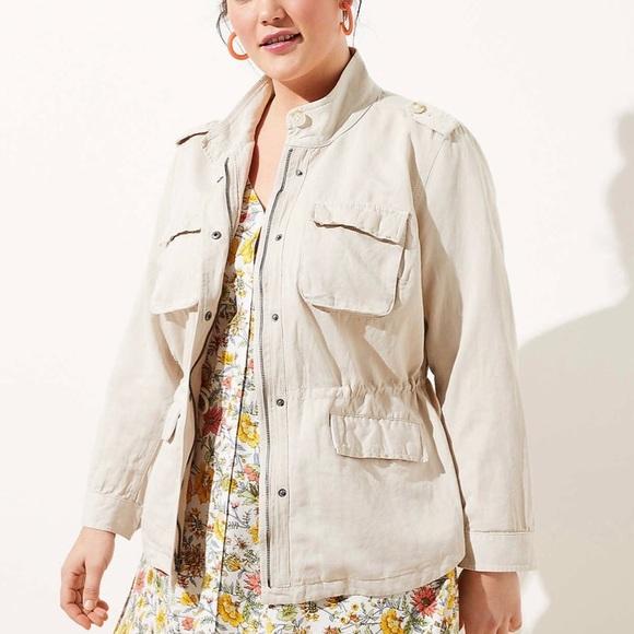 LOFT Jackets & Blazers - NWT LOFT Plus Twill Tan Beige Jacket 14W 14